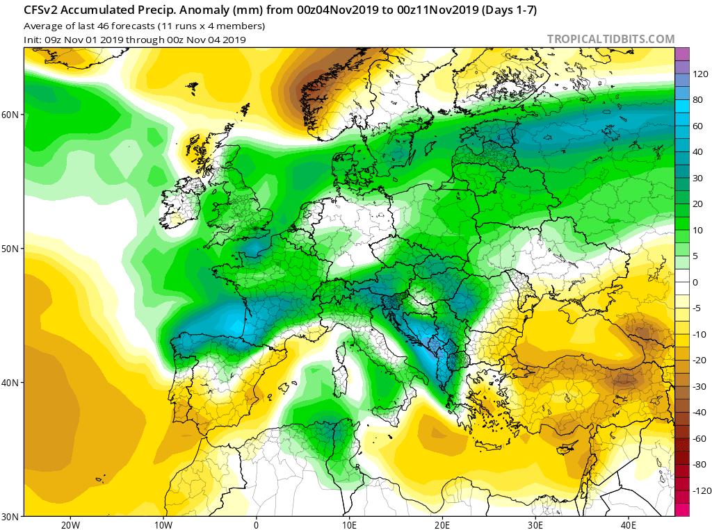 Modelos de precipitaciones semanales Noviembre GFS 1S Jose Calvo. Meteosojuela La Rioja.