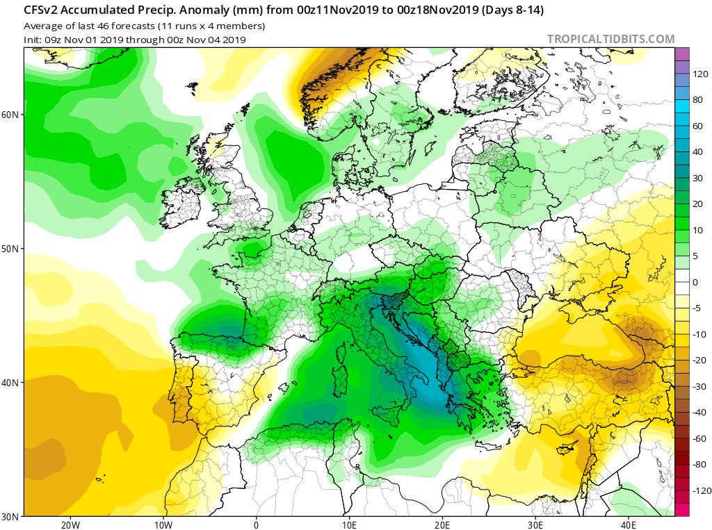 Modelos de precipitaciones semanales Noviembre GFS 2S Jose Calvo. Meteosojuela La Rioja.