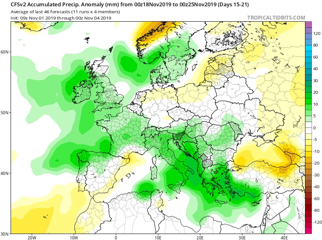 Modelos de precipitaciones semanales Noviembre GFS 3S Jose Calvo. Meteosojuela La Rioja.