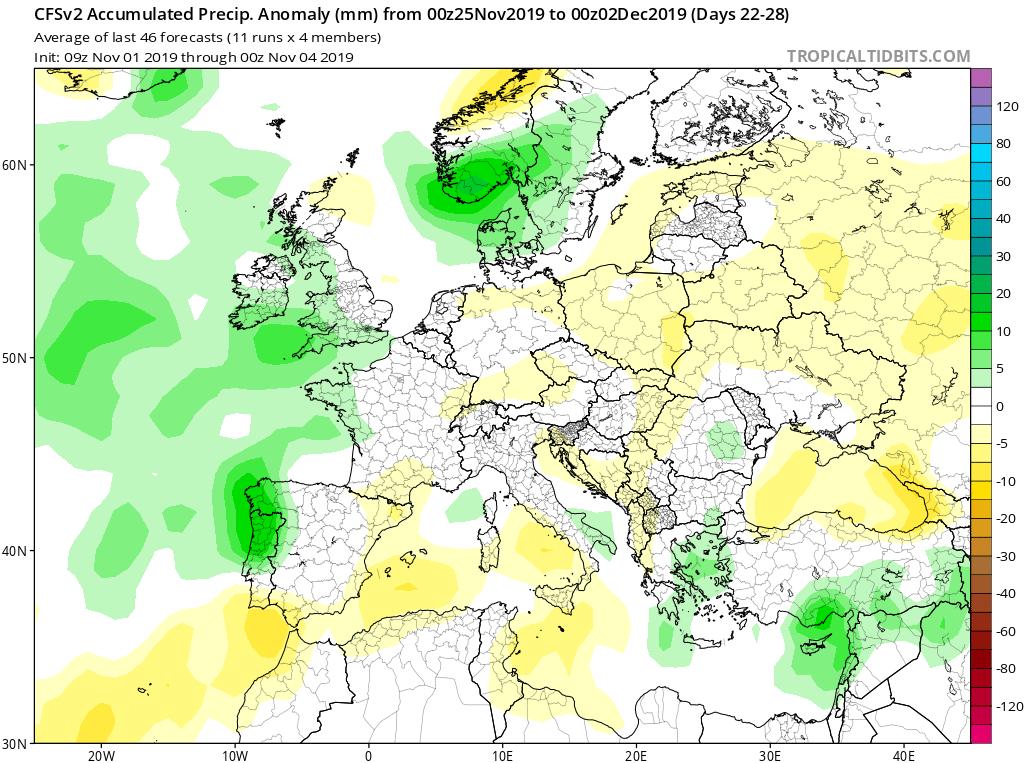 Modelos de precipitaciones semanales Noviembre GFS 4S Jose Calvo. Meteosojuela La Rioja.