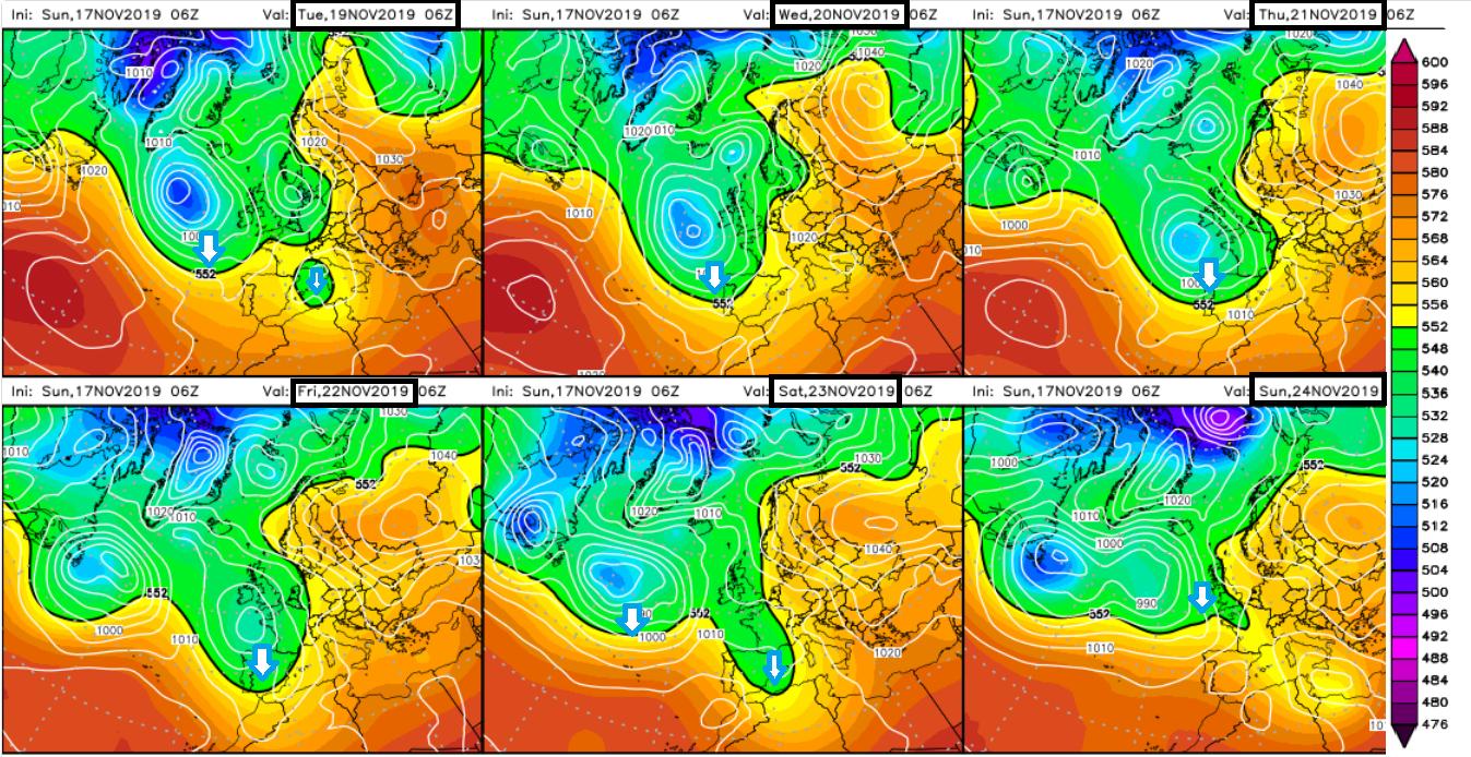 Modelos de predicción altura geopotencial 500hPa. Meteosojuela La Rioja - copia