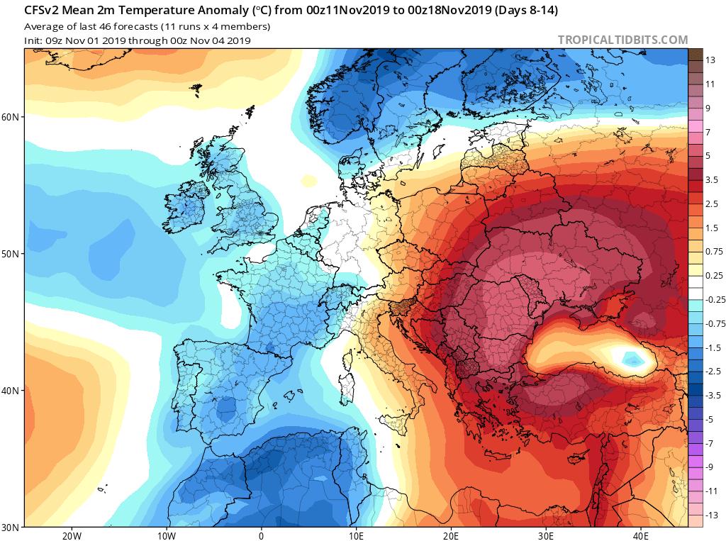 Modelos de temperaturas semanales Noviembre GFS 2S Jose Calvo. Meteosojuela La Rioja.