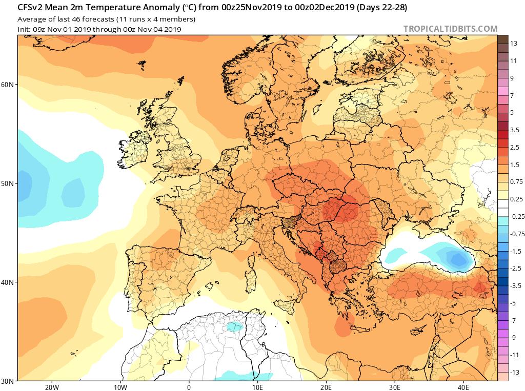 Modelos de temperaturas semanales Noviembre GFS 4S Jose Calvo. Meteosojuela La Rioja.