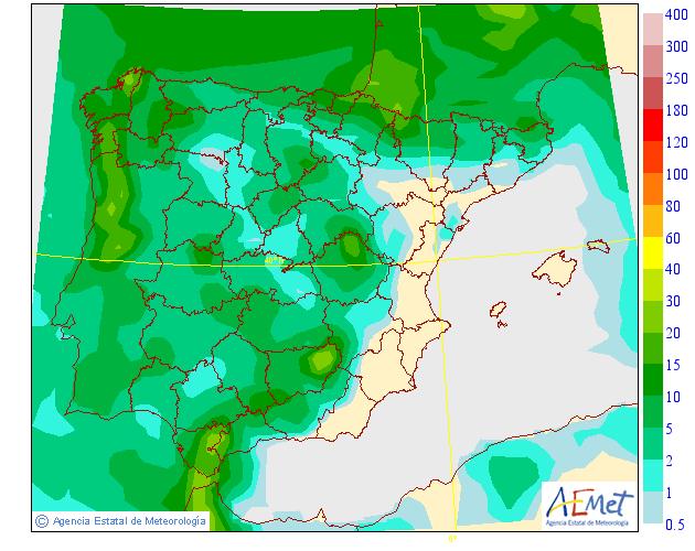 Precipitación Media según AEMET. 02 Meteosojuela La Rioja