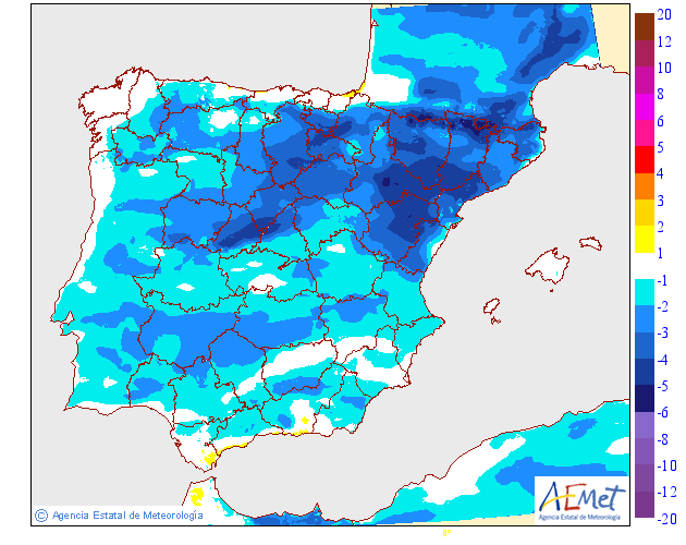 Variación de temperaturas máximas AEMET. 03 Meteosojuela