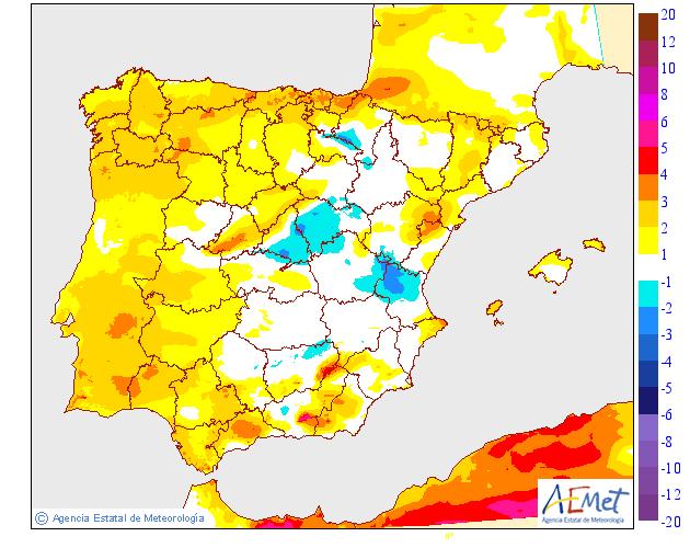 Variación de temperaturas máximas AEMET. 18Meteosojuela