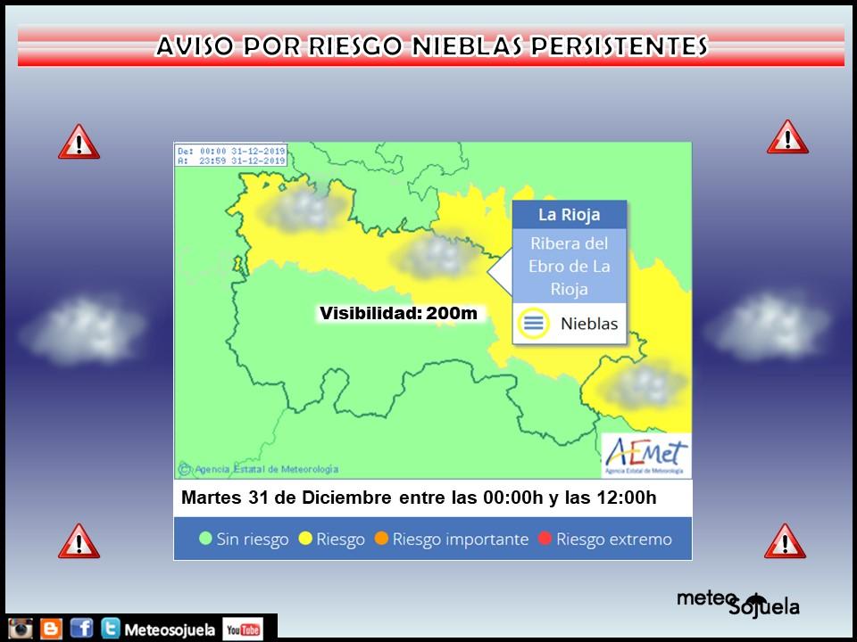 AVISO AMARILLO por NIEBLAS. AEMET. 31 Meteosojuela