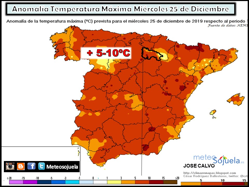Anomalía Temperatura Máxima. Meteosojuela