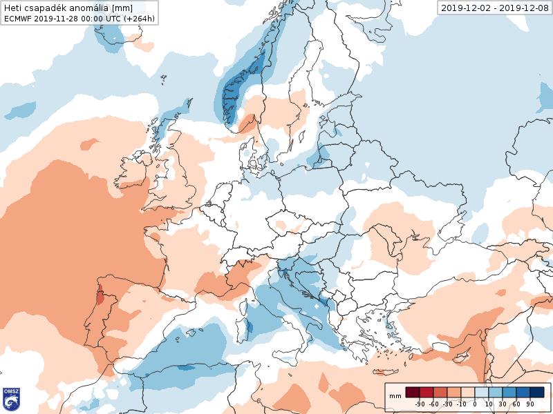 Anomalías Precipitación Diciembre 1 semana ECMWF