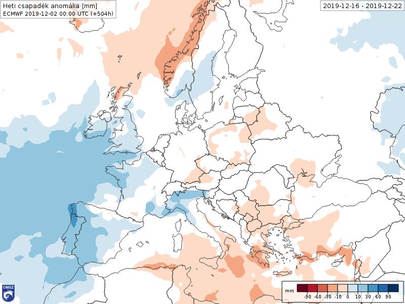 Anomalías Precipitación Diciembre 3 semana ECMWF