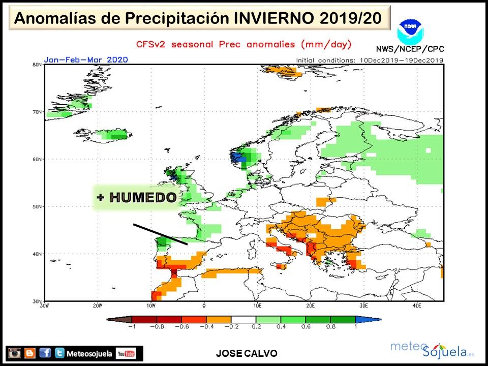 Anomalías Precipitación Invierno. Meteosojuela