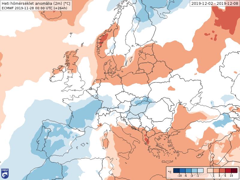 Anomalías Temperaturas Diciembre 1 semana ECMWF