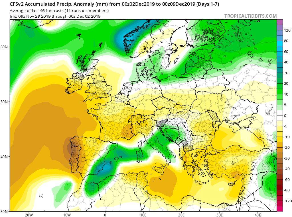 Modelos de precipitaciones semanales Diciembre GFS 1S Jose Calvo. Meteosojuela La Rioja.