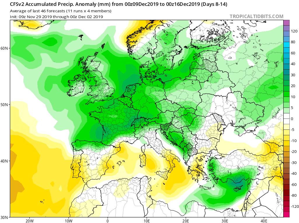 Modelos de precipitaciones semanales Diciembre GFS 2S Jose Calvo. Meteosojuela La Rioja.