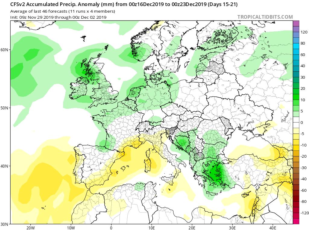 Modelos de precipitaciones semanales Diciembre GFS 3S Jose Calvo. Meteosojuela La Rioja.