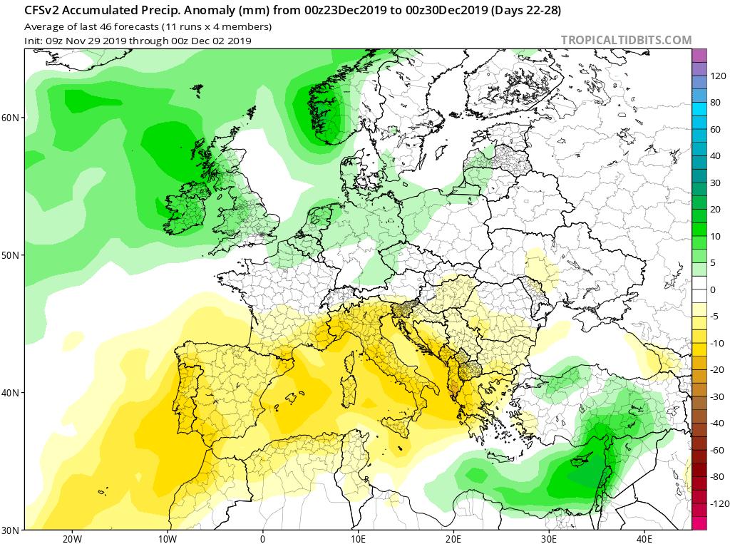 Modelos de precipitaciones semanales Diciembre GFS 4S Jose Calvo. Meteosojuela La Rioja.