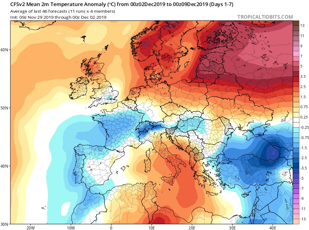 Modelos de temperaturas semanales Diciembre GFS 1S Jose Calvo. Meteosojuela La Rioja.