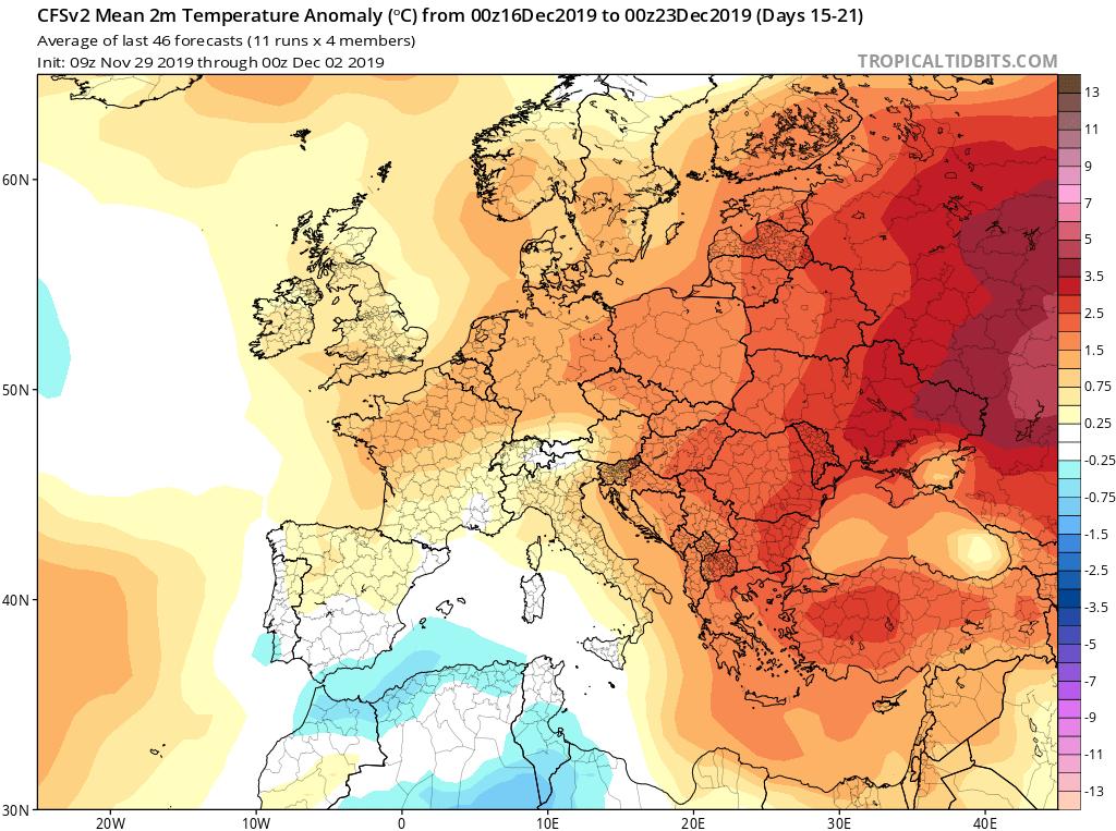 Modelos de temperaturas semanales Diciembre GFS 3S Jose Calvo. Meteosojuela La Rioja.