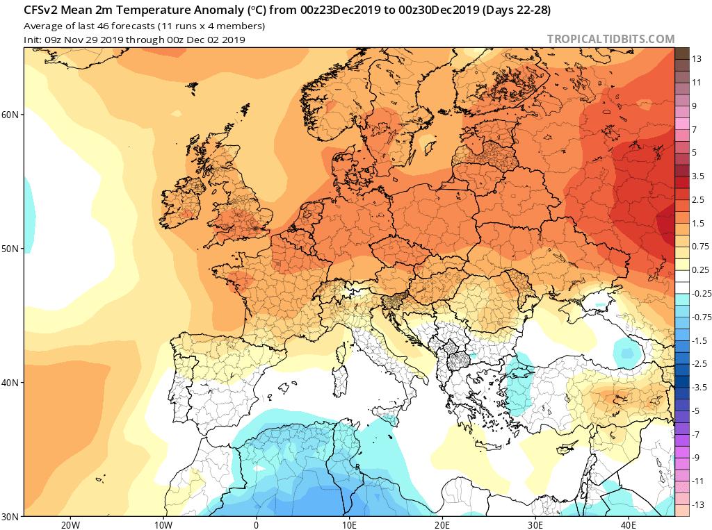 Modelos de temperaturas semanales Diciembre GFS 4S Jose Calvo. Meteosojuela La Rioja.
