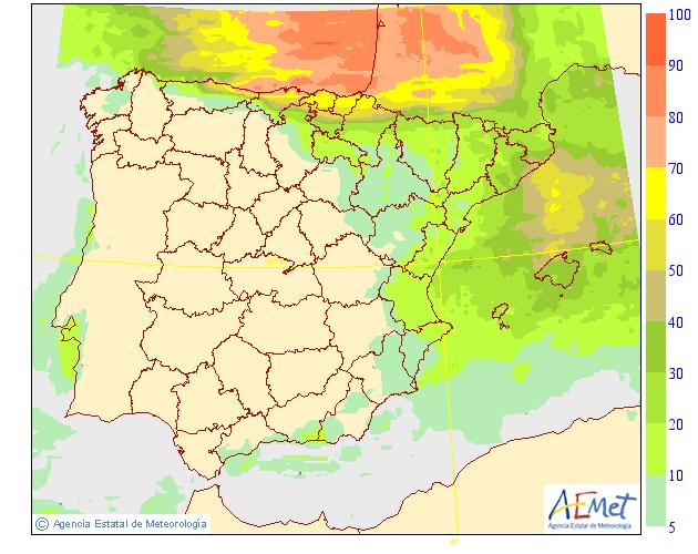 Probabilidad de Precipitación según AEMET. 01 Meteosojuela La Rioja