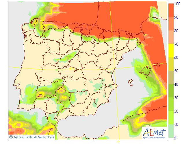Probabilidad de precipitacion según AEMET. 09 Meteosojuela La Rioja