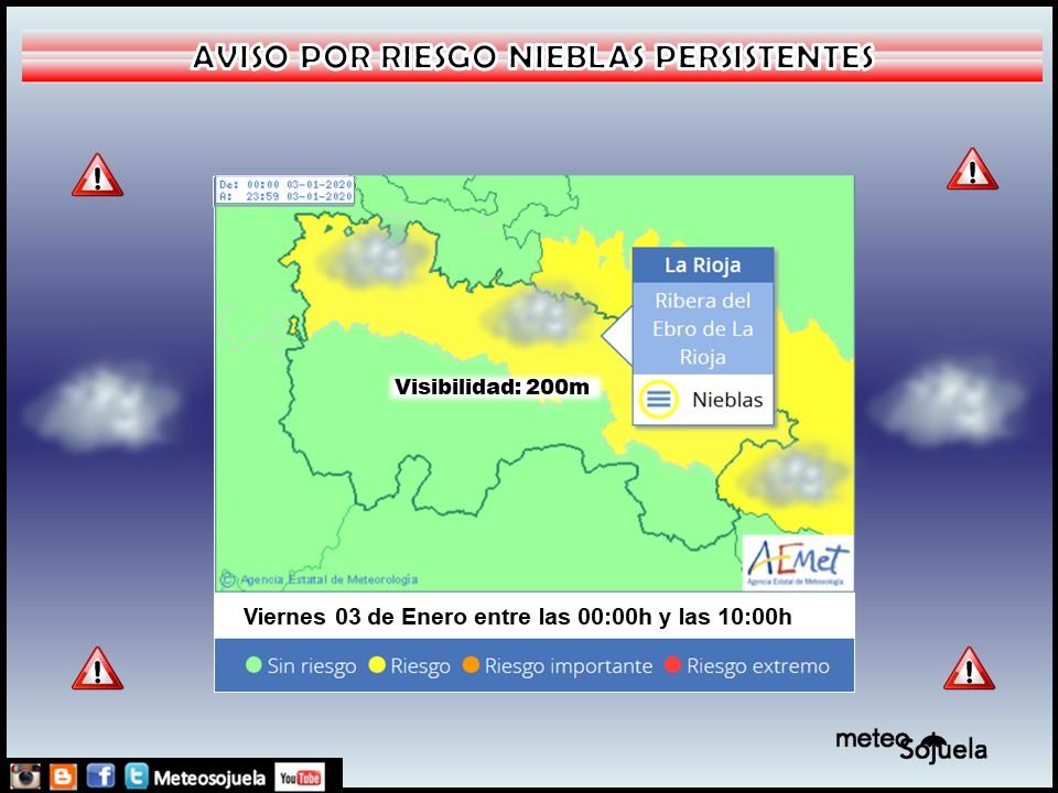 AVISO AMARILLO por NIEBLAS. AEMET. 03 Meteosojuela