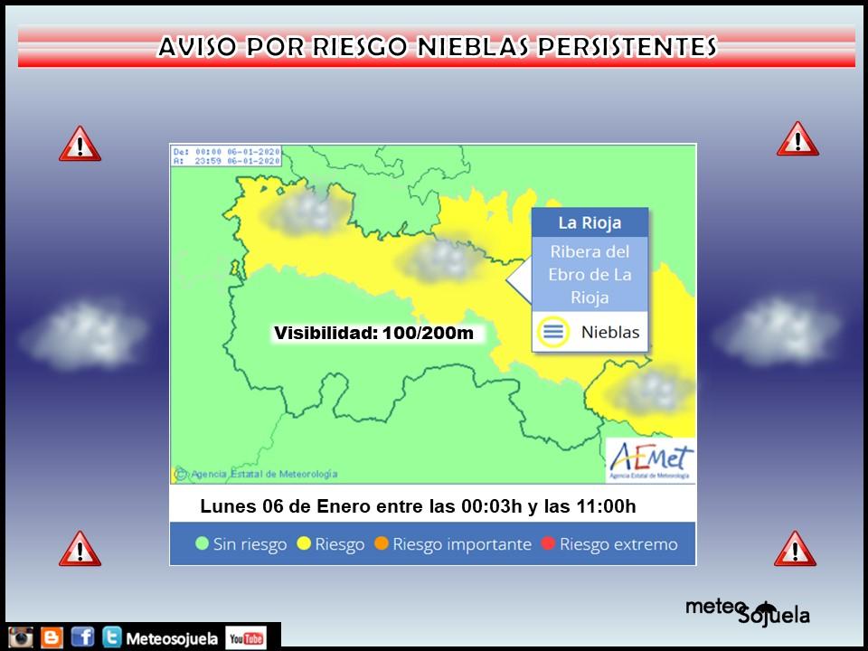Aviso Amarillo por Nieblas. AEMET. Meteosojuela