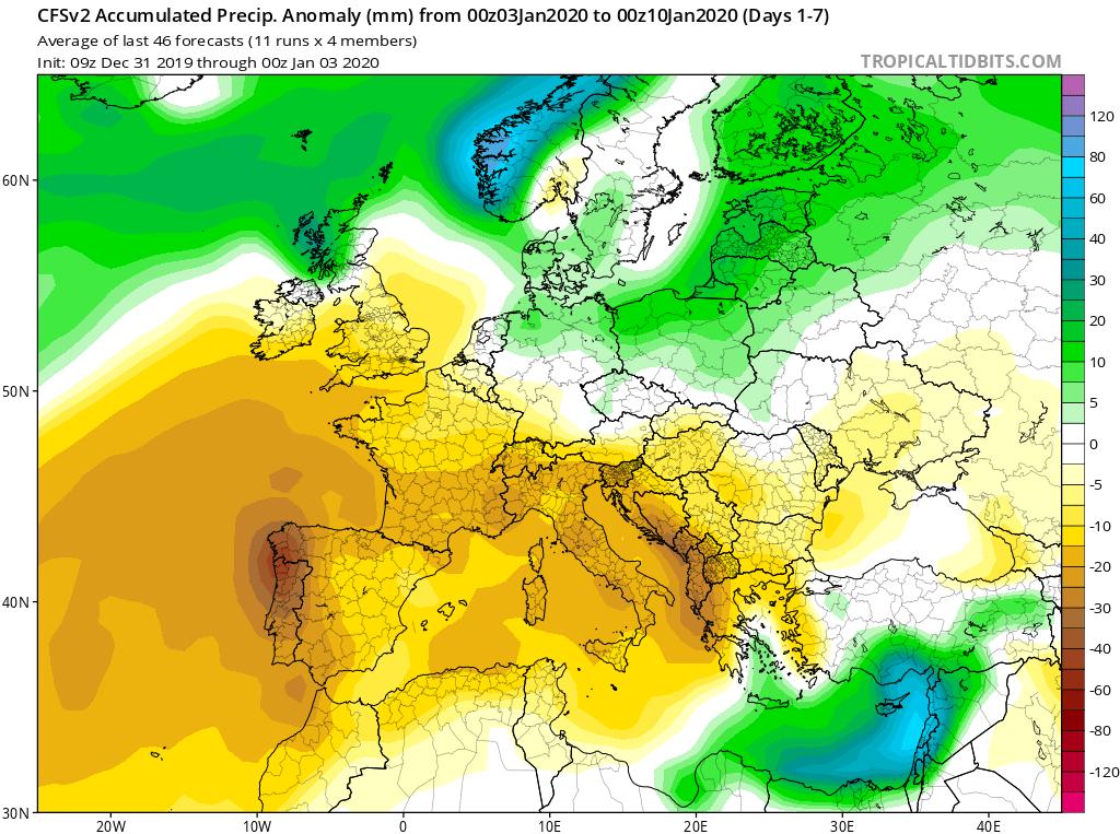 Modelos de precipitaciones semanales Enero GFS 1S Jose Calvo. Meteosojuela La Rioja.