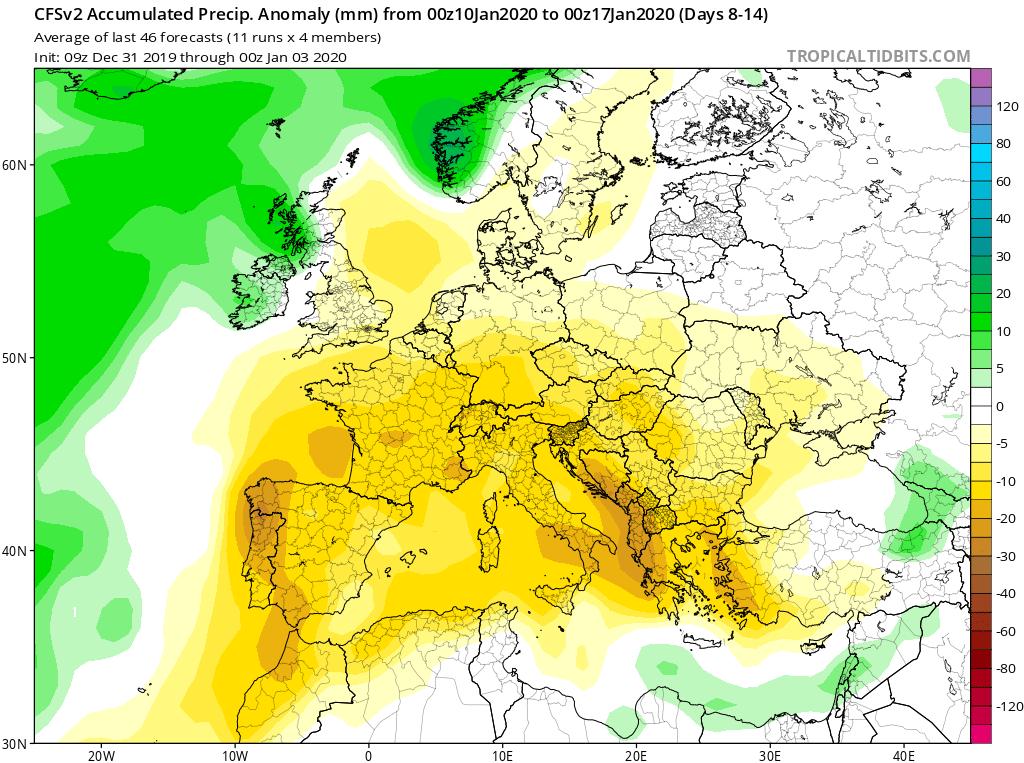 Modelos de precipitaciones semanales Enero GFS 2S Jose Calvo. Meteosojuela La Rioja.