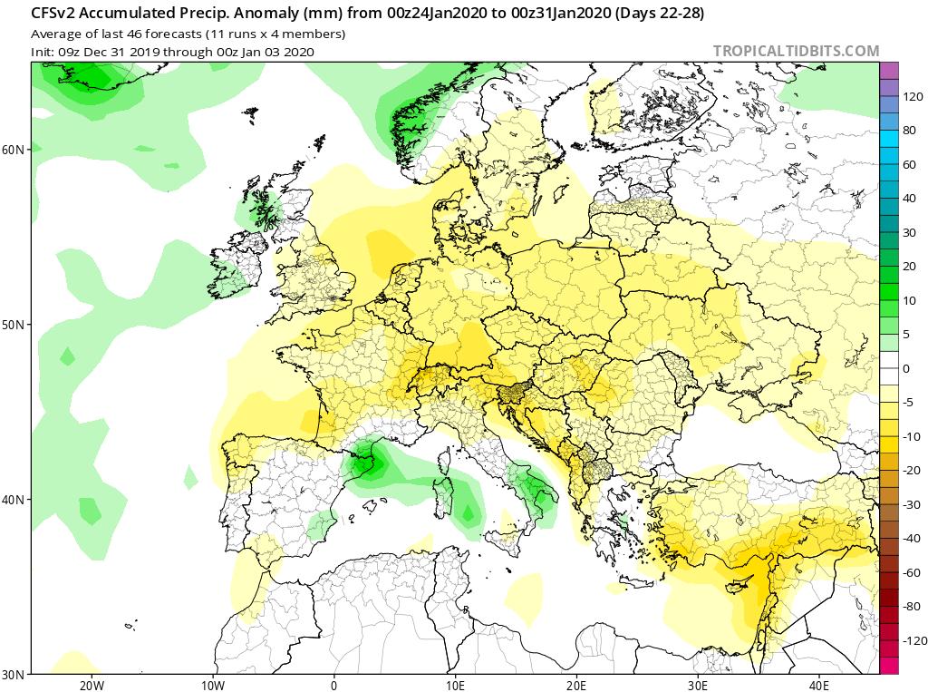 Modelos de precipitaciones semanales Enero GFS 4S Jose Calvo. Meteosojuela La Rioja.