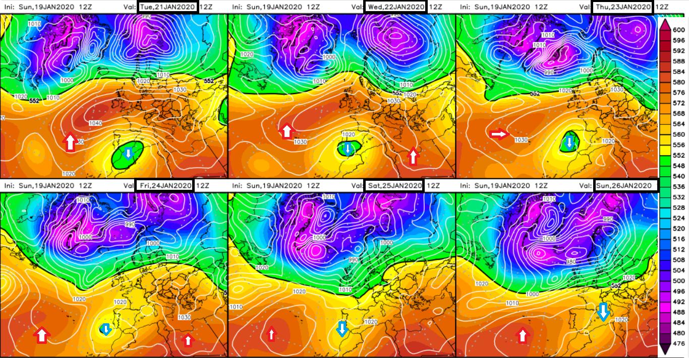 Modelos de predicción altura geopotencial 500hPa. Meteosojuela La Rioja