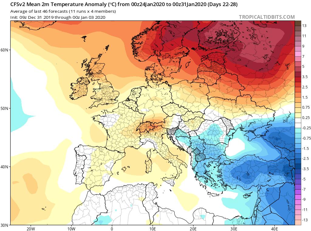 Modelos de temperaturas semanales Enero GFS 4S Jose Calvo. Meteosojuela La Rioja.