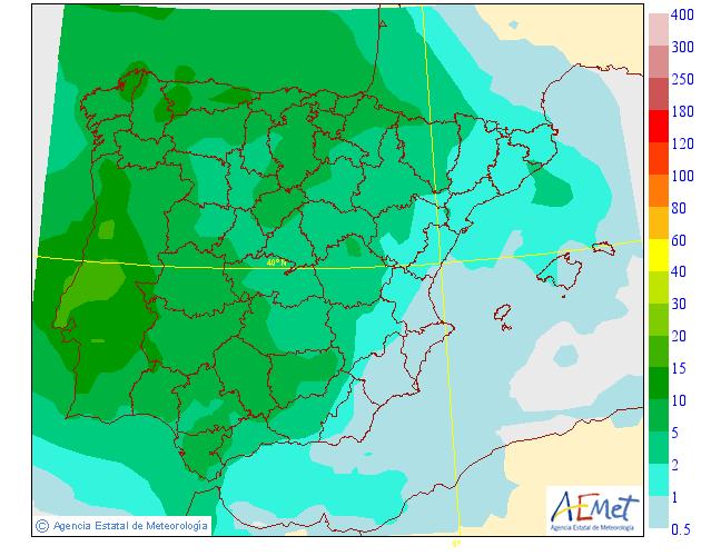 Precipitación Media según AEMET. Meteosojuela 18 La Rioja