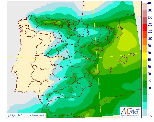 Precipitación Media según AEMET. Meteosojuela 19 La Rioja
