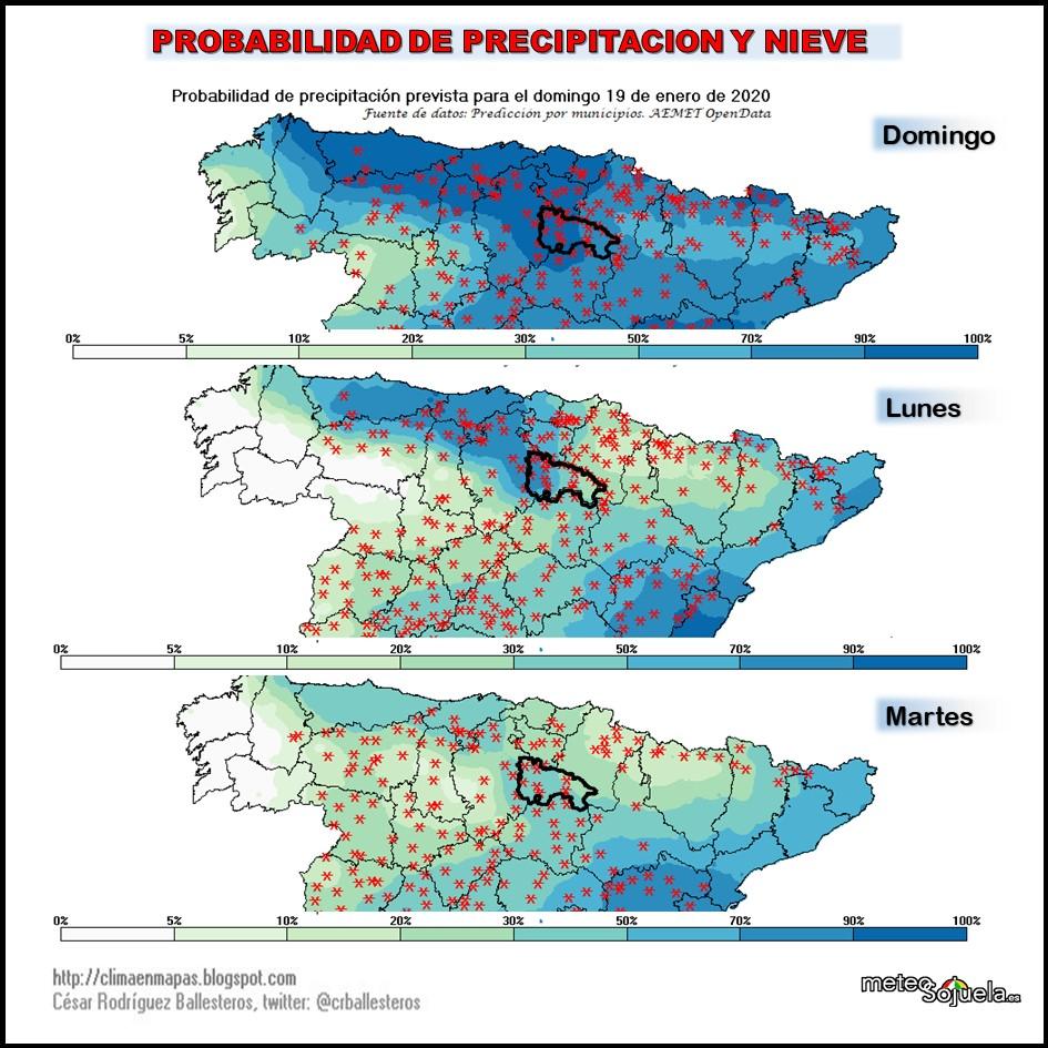 Probabilidad de Precipitación y aparición de nieve