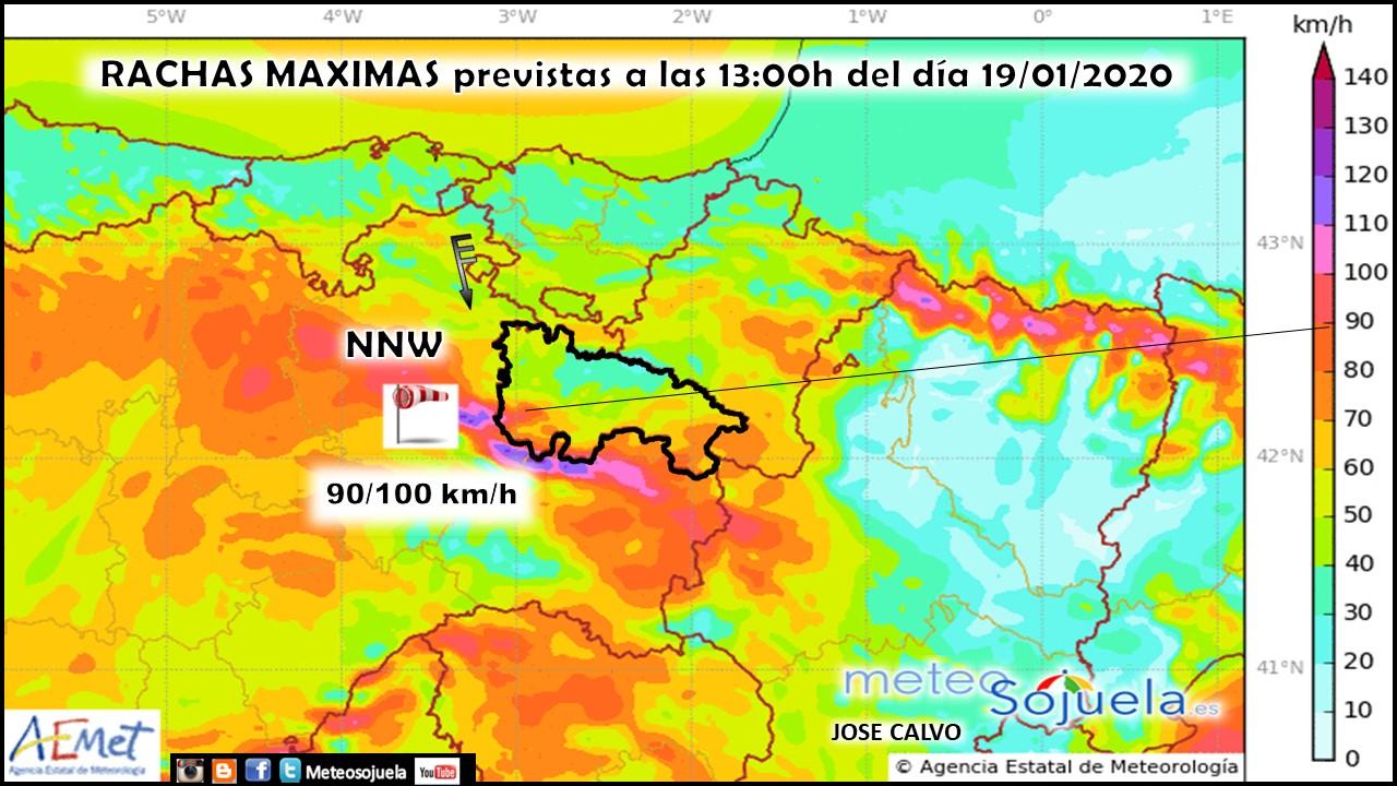 Rachas Máximas de viento modelo AROME. Meteosojuela