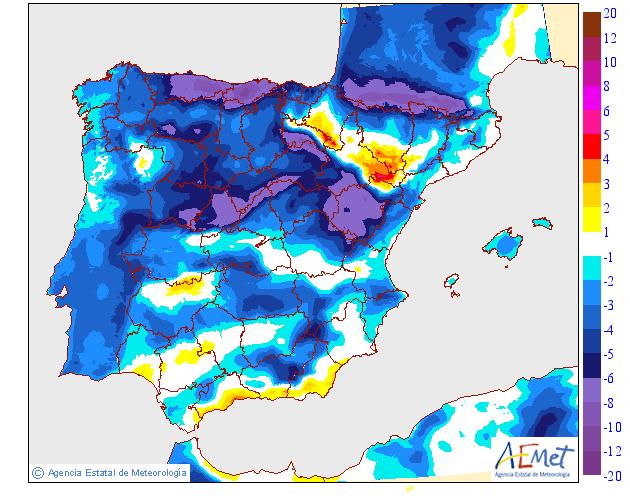 Variación de temperaturas máximas AEMET.10 Meteosojuela