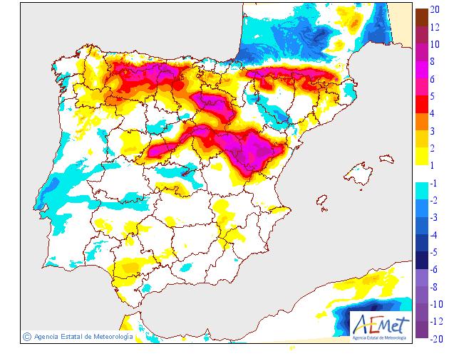 Variación de temperaturas mínimas AEMET. 5 Meteosojuela