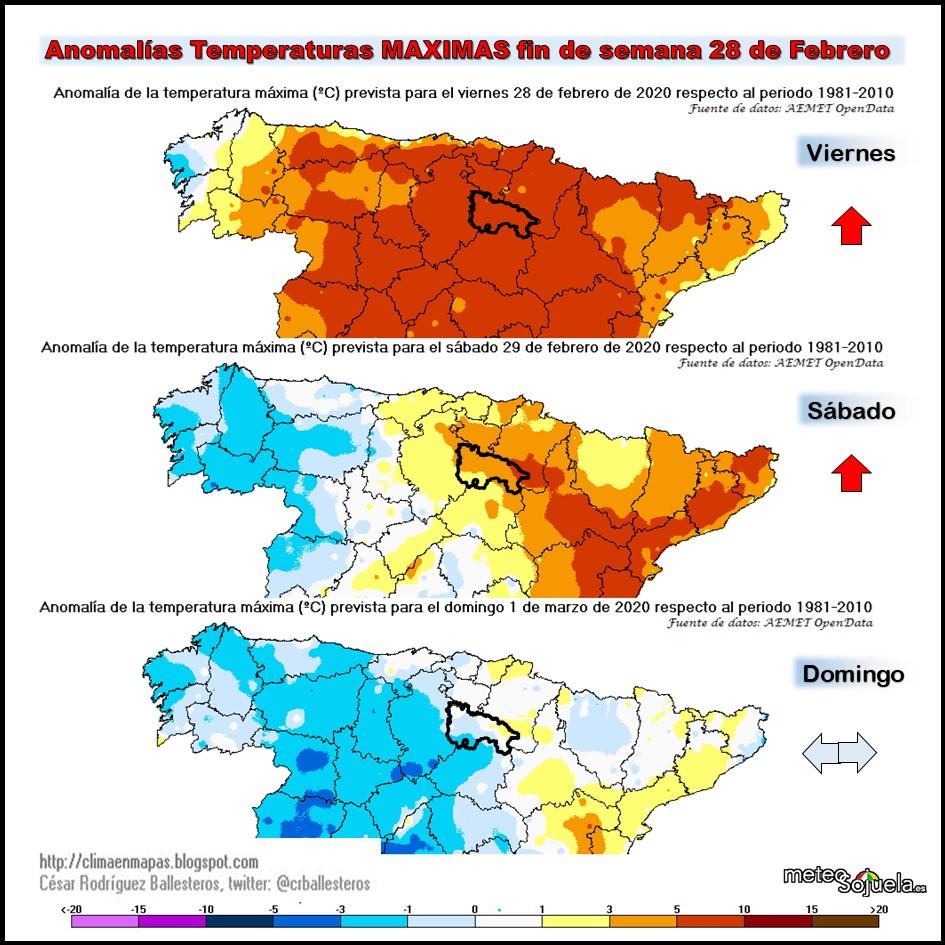 Anomalías Temperaturas Máximas. Cesar. Meteosojuela