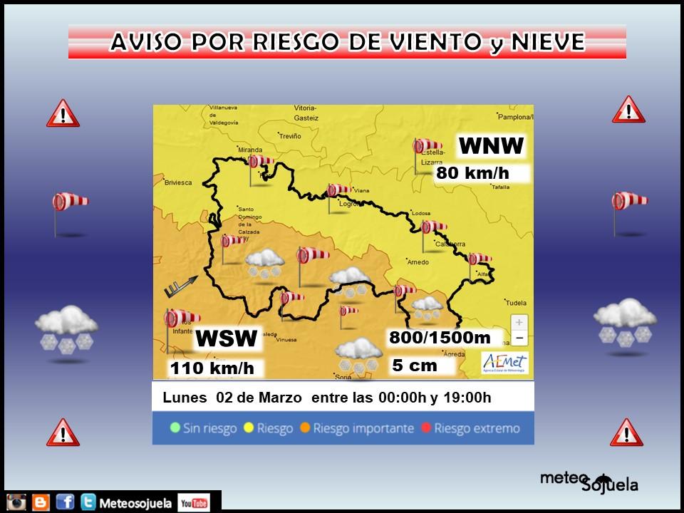 Aviso Amarillo por Viento y Nieveen la Ibérica. 02 Meteosojuela