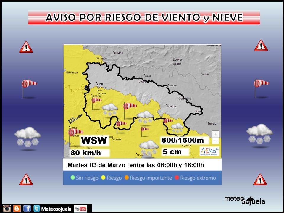 Aviso Amarillo por Viento y Nieve. 03 Meteosojuela