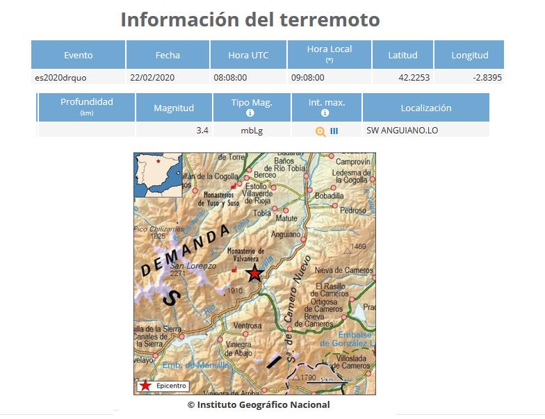 Datos terremoto en Anguiano.Meteosojuela