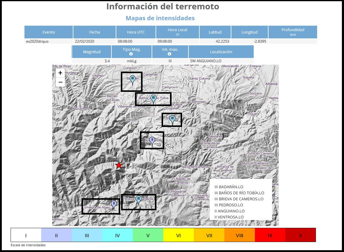 Intensidad del terremoto. Anguiano