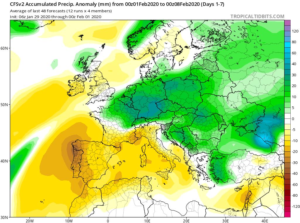 Modelos de Precipitación semanal Febrero GFS 1ª Semana . Meteosojuela La Rioja.