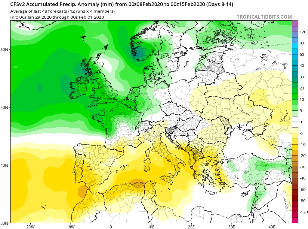 Modelos de Precipitación semanal Febrero GFS 2ª Semana . Meteosojuela La Rioja.