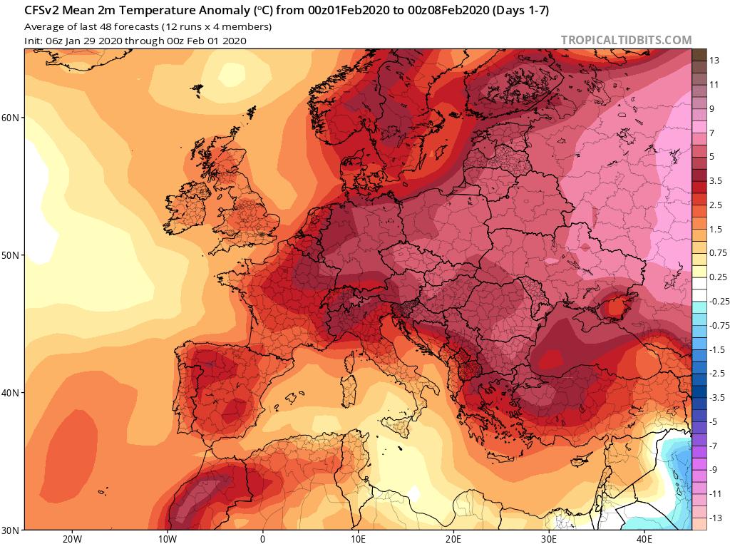 Modelos de Temperatura semanal Febrero GFS 1ª Semana . Meteosojuela La Rioja.