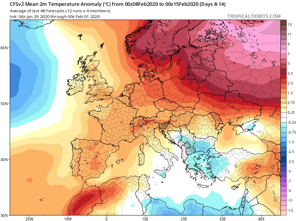 Modelos de Temperatura semanal Febrero GFS 2ª Semana . Meteosojuela La Rioja.