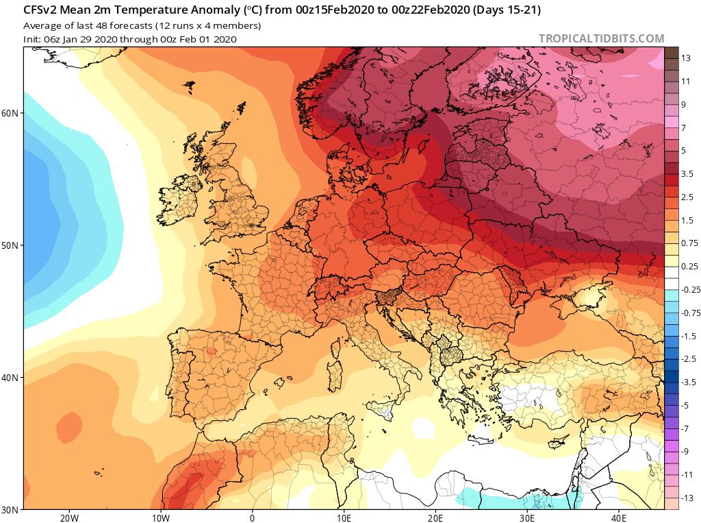 Modelos de Temperatura semanal Febrero GFS 3ª Semana . Meteosojuela La Rioja.