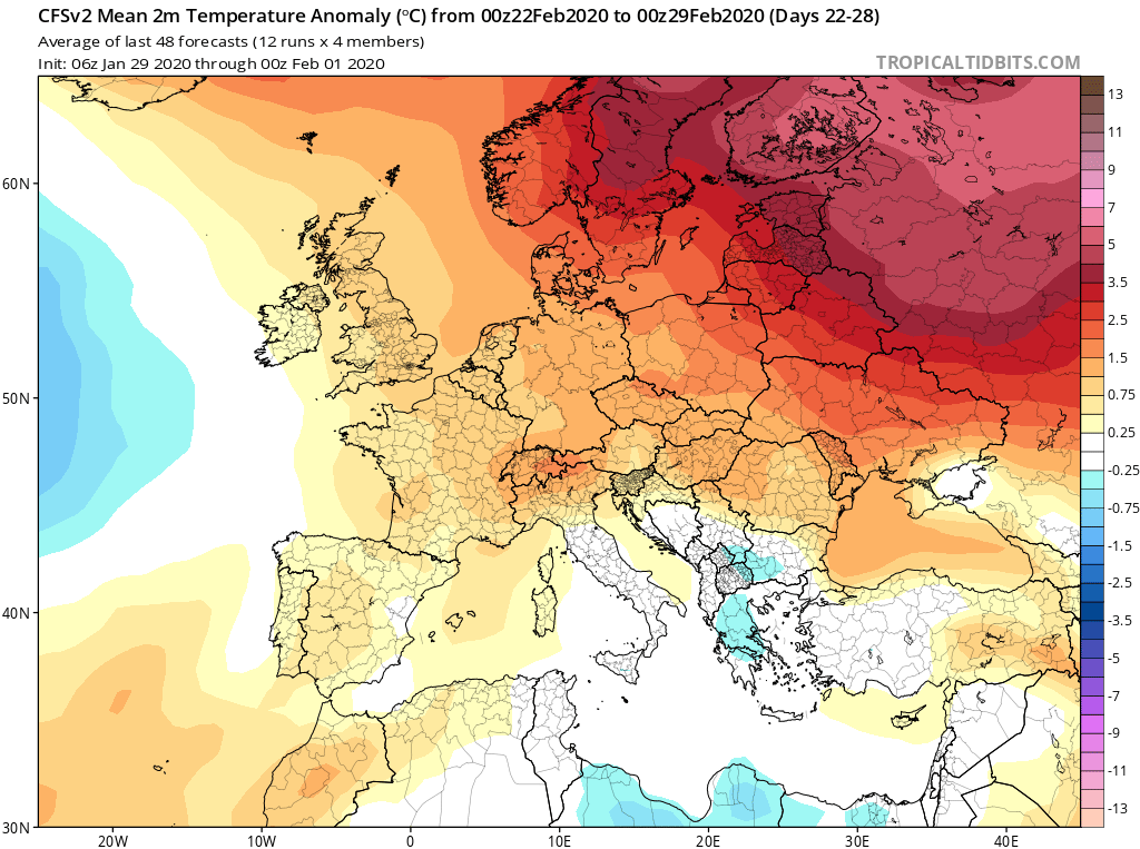 Modelos de Temperatura semanal Febrero GFS 4ª Semana . Meteosojuela La Rioja.