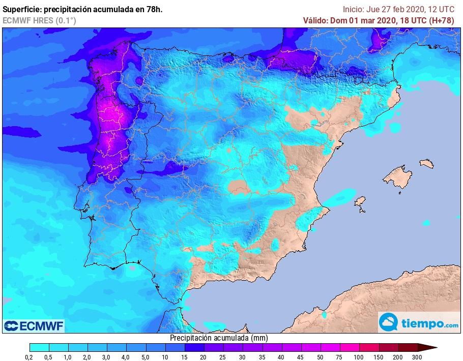 Precipitación acumulada ECMWF. Meteosojuela j